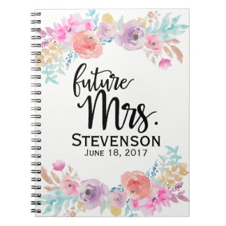 Floral Water Color Future Mrs. Notebook