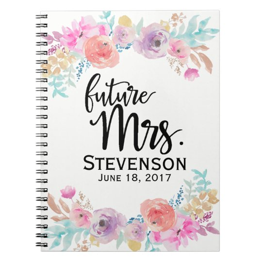 Floral Water Colour Future Mrs. Notebook