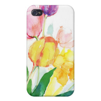 floral water colour tulips covers for iPhone 4