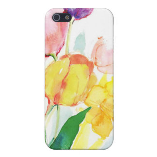 floral water colour tulips iPhone 5 cases