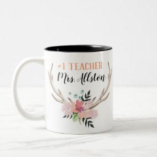 Floral Watercolor #1 Teacher Name Gift Mug