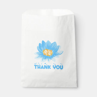 Floral Watercolor Blue Turquoise Thank You Flower Favour Bags