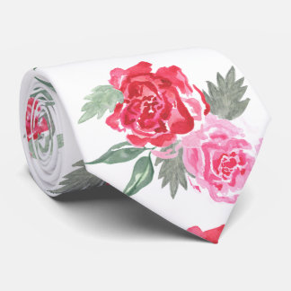 Floral watercolor bohemian rose wedding tie