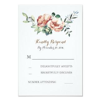 floral watercolor bouquet fall ivory wedding rsvp 9 cm x 13 cm invitation card