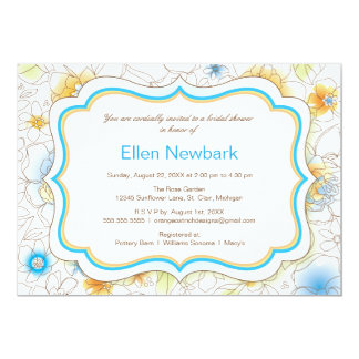 Floral Watercolor Bridal Shower Invitation - Blue