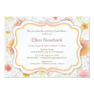 Floral Watercolor Bridal Shower Invitation - Pink