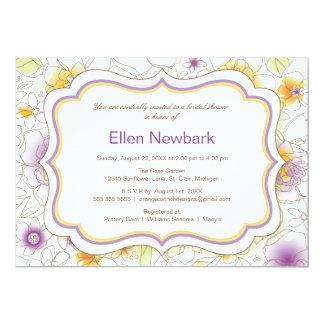 Floral Watercolor Bridal Shower Invitation Purple