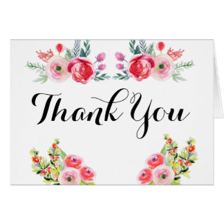 Floral Watercolor Bridal Shower Thank You Notes Note Card