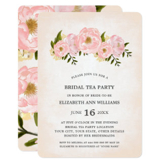 Floral Watercolor Bridal Tea Party Invitations