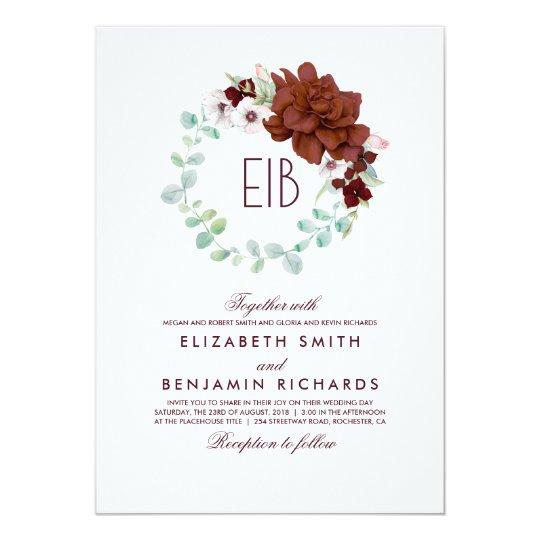 Floral Watercolor Burgundy Elegant Wreath Wedding Card