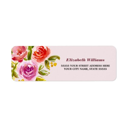Floral Watercolor Design Return Address Labels