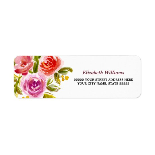 Floral Watercolor Design Return Address Labels
