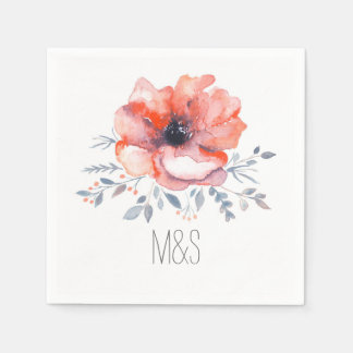 Floral Watercolor Garden Wedding Paper Napkin