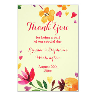 "Floral Watercolor Hearts Wedding Thank You 3.5"" X 5"" Invitation Card"
