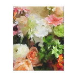 Floral Watercolor in Peach & Green Gallery Wrap Canvas