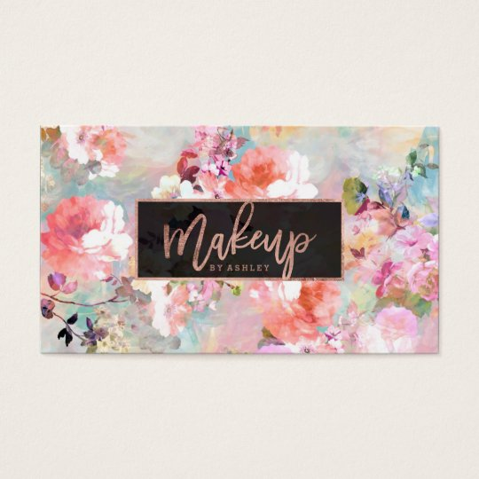 Floral watercolor Makeup typography rose gold Business Card