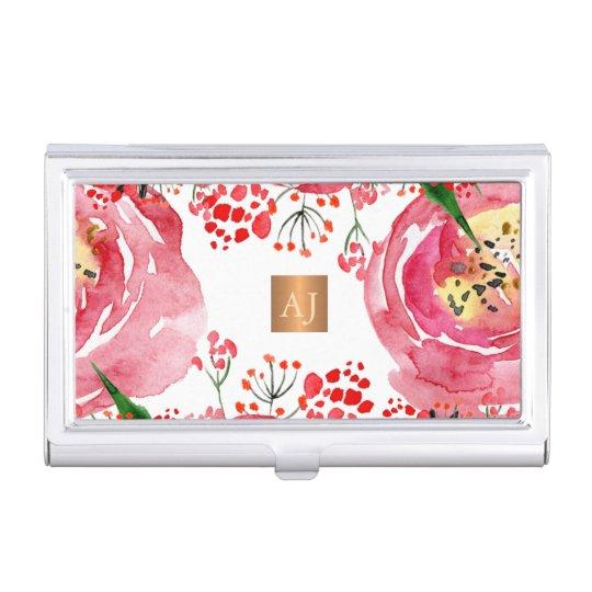 Floral watercolor metallic copper square monogram business card