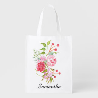 Floral watercolor mix bridal name reusable grocery bag