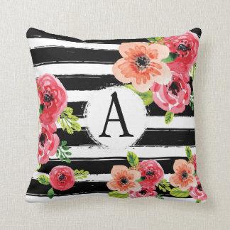 Floral Watercolor Monogramed Black White Stripes Cushion
