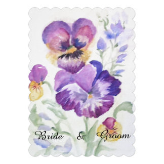 Floral watercolor pansies personalized invitation