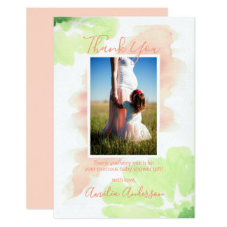 Floral Watercolor Peach Mint Thank You BABY SHOWER Card