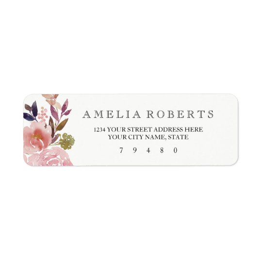 Floral Watercolor Peonies Return Address Label