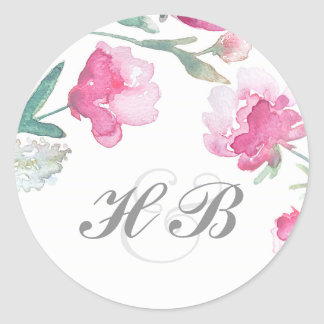 Floral Watercolor Peony Wedding Classic Round Sticker