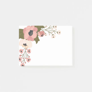 Floral Watercolor Pink Flowers Post-it Notes