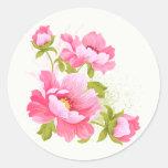 Floral Watercolor Pink Peonies Flower Stickers