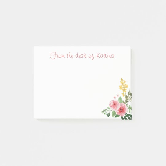 Floral Watercolor Pink Rose Flowers Personalised Post-it Notes