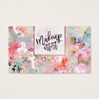 Floral watercolor purple pink makeup typography business card