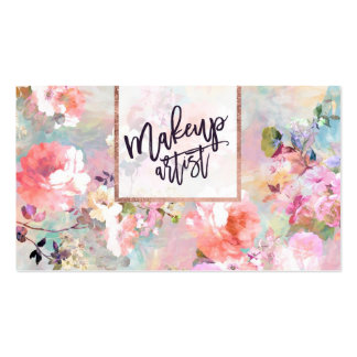 Floral watercolor purple pink makeup typography pack of standard business cards
