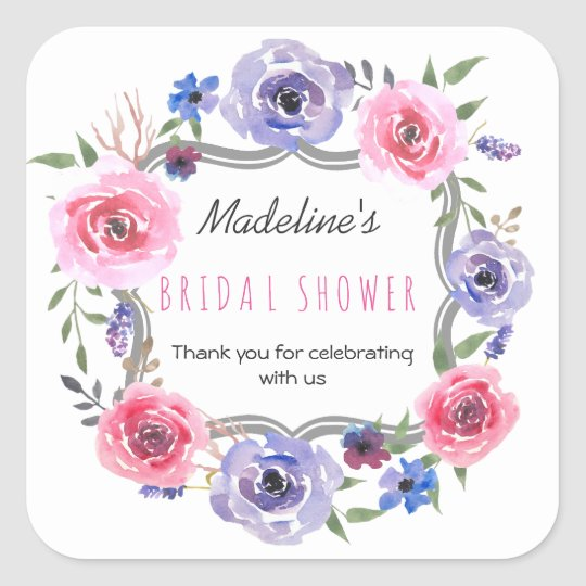 Floral Watercolor Purple Rose Bridal Shower Favour Square