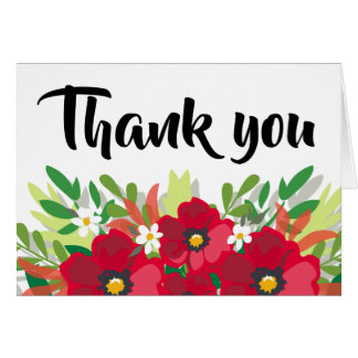 Floral Watercolor Red Thank You Burgundy Flower Card