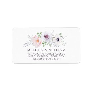 Floral Watercolor Rose Anemone Wedding Address Label