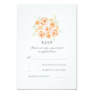 Floral Watercolor Roses Wedding RSVP Card 9 Cm X 13 Cm Invitation Card