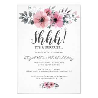 Floral Watercolor Shhh Surprise Birthday Invitation