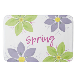 Floral Watercolor Spring Bath Mat