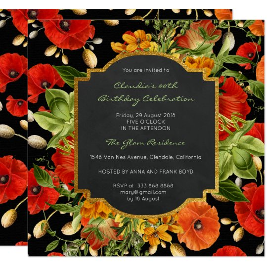 Floral Watercolor Spring Poppy Black Baroque Gold Card