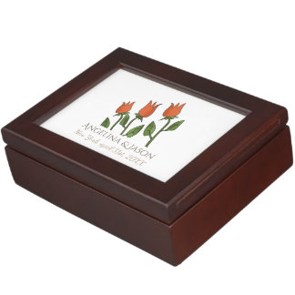 Floral Watercolor Spring Tulips White Pure Elegant Keepsake Box