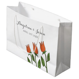 Floral Watercolor Spring Tulips White Pure Elegant Large Gift Bag