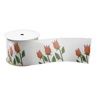 Floral Watercolor Spring Tulips White Pure Elegant Satin Ribbon