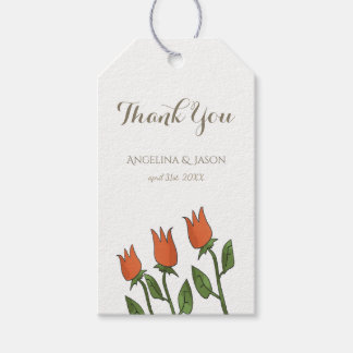 Floral Watercolor Spring Tulips White Pure Wedding Gift Tags