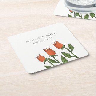 Floral Watercolor Spring Tulips White Pure Wedding Square Paper Coaster