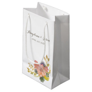 Floral Watercolor Spring Vintage Elegant Wedding Small Gift Bag