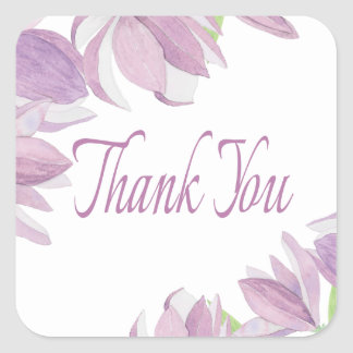 Floral Watercolor Thank You Purple Flowers Wedding Square Sticker