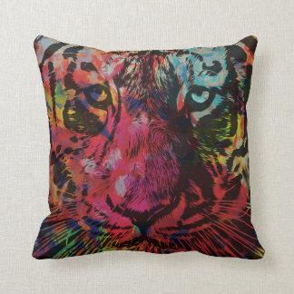 Floral Watercolor Tiger Print Throw Cushion