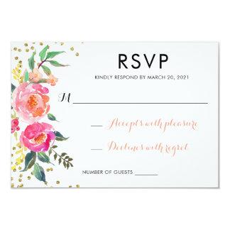 Floral Watercolor Wedding RSVP Respond Card Gold