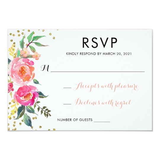 Floral Watercolor Wedding RSVP Respond Card Gold