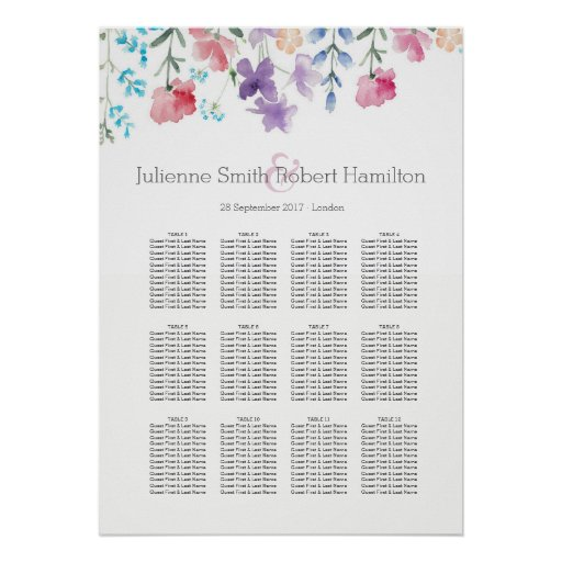 Floral Watercolor Wedding Seating Chart 12 Tables